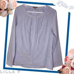 LILLA P Fabulous Blue Chambray Cotton Blouse